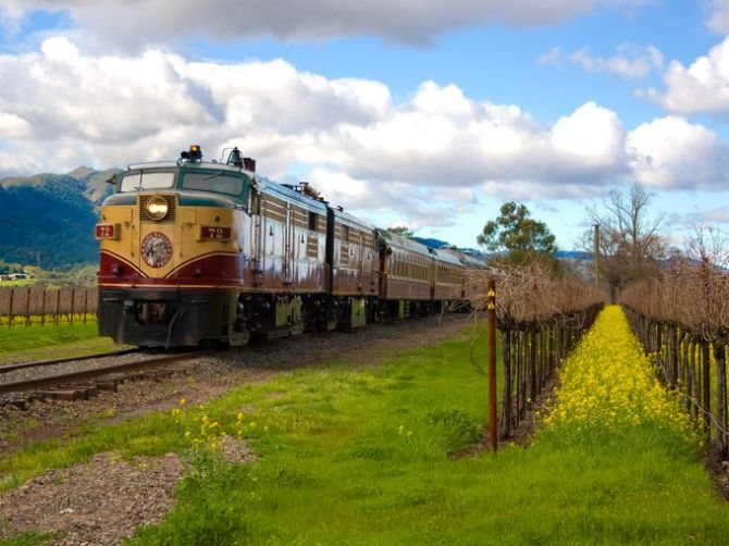 The Napa Valley Wine Train completed a program for the experimental conversion of an ALCO locomotive to 60% natural gas and 40% diesel fuel mixture. Starting in 2003, the locomotive went into service using 100% compressed natural gas. (Photo: Napa Valley Wine Train)