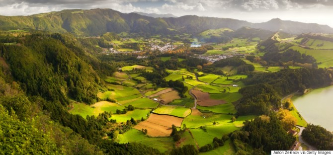 View to the Furnas city and valley