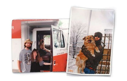 Moving day, 2000, left, and a snowy winter of 2002. — Courtesy of David Dudley; Photo illustration by Chris O'Riley
