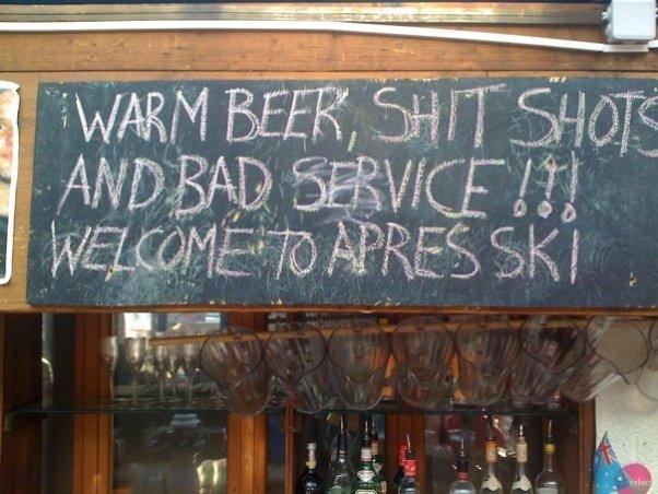 Warm beer shit shots bad service