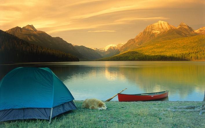 Camping, Bowman Lake, Glacier NP, MT